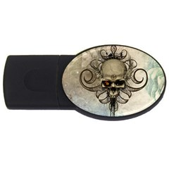 Awesome Creepy Skull With  Wings Usb Flash Drive Oval (4 Gb) by FantasyWorld7
