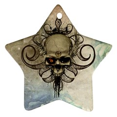 Awesome Creepy Skull With  Wings Star Ornament (two Sides)