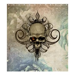 Awesome Creepy Skull With  Wings Shower Curtain 66  X 72  (large)  by FantasyWorld7