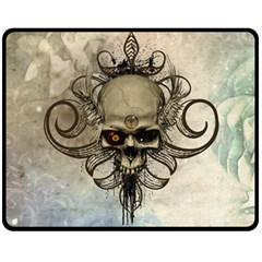 Awesome Creepy Skull With  Wings Fleece Blanket (medium)  by FantasyWorld7