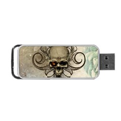 Awesome Creepy Skull With  Wings Portable Usb Flash (one Side) by FantasyWorld7