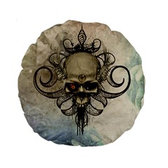 Awesome Creepy Skull With  Wings Standard 15  Premium Round Cushions by FantasyWorld7