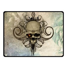 Awesome Creepy Skull With  Wings Double Sided Fleece Blanket (small)  by FantasyWorld7