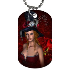 Beautiful Fantasy Women With Floral Elements Dog Tag (two Sides) by FantasyWorld7