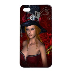 Beautiful Fantasy Women With Floral Elements Apple Iphone 4/4s Seamless Case (black) by FantasyWorld7