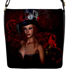 Beautiful Fantasy Women With Floral Elements Flap Messenger Bag (s) by FantasyWorld7