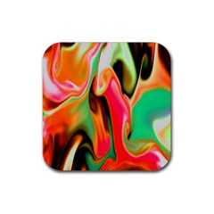 Catch The Waves Smoky Red Orange Haze  Rubber Square Coaster (4 Pack)  by flipstylezdes