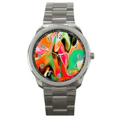 Catch The Waves Smoky Red Orange Haze  Sport Metal Watch