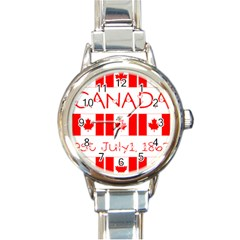 Canada Day Maple Leaf Canadian Flag Pattern Typography  Round Italian Charm Watch by yoursparklingshop
