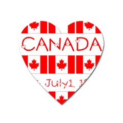 Canada Day Maple Leaf Canadian Flag Pattern Typography  Heart Magnet by yoursparklingshop