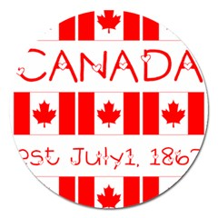 Canada Day Maple Leaf Canadian Flag Pattern Typography  Magnet 5  (round) by yoursparklingshop