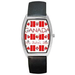 Canada Day Maple Leaf Canadian Flag Pattern Typography  Barrel Style Metal Watch by yoursparklingshop