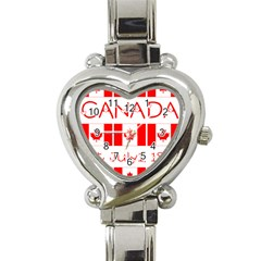 Canada Day Maple Leaf Canadian Flag Pattern Typography  Heart Italian Charm Watch by yoursparklingshop