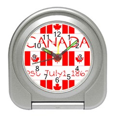 Canada Day Maple Leaf Canadian Flag Pattern Typography  Travel Alarm Clock