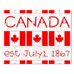 Canada Day Maple Leaf Canadian Flag Pattern Typography  Rectangular Jigsaw Puzzl by yoursparklingshop