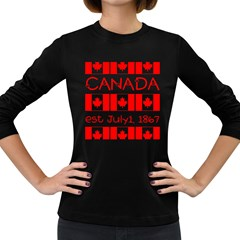 Canada Day Maple Leaf Canadian Flag Pattern Typography  Women s Long Sleeve Dark T Shirts by yoursparklingshop