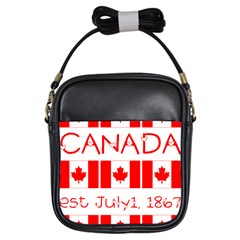 Canada Day Maple Leaf Canadian Flag Pattern Typography  Girls Sling Bags by yoursparklingshop