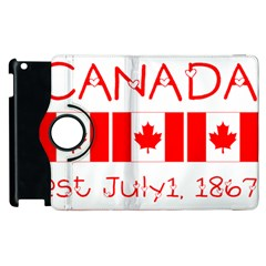 Canada Day Maple Leaf Canadian Flag Pattern Typography  Apple Ipad 2 Flip 360 Case by yoursparklingshop