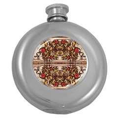 Roses Floral Wallpaper Flower Round Hip Flask (5 Oz) by Nexatart