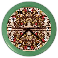 Roses Floral Wallpaper Flower Color Wall Clock