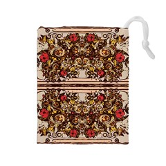 Roses Floral Wallpaper Flower Drawstring Pouches (large)
