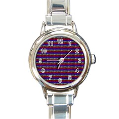 French Revolution Typographic Pattern Design 2 Round Italian Charm Watch by dflcprints