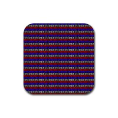 French Revolution Typographic Pattern Design 2 Rubber Coaster (square)  by dflcprints