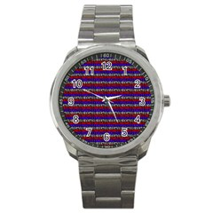 French Revolution Typographic Pattern Design 2 Sport Metal Watch by dflcprints