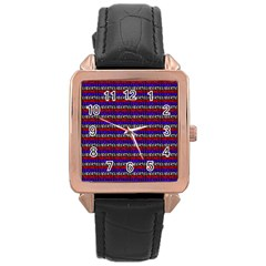 French Revolution Typographic Pattern Design 2 Rose Gold Leather Watch  by dflcprints