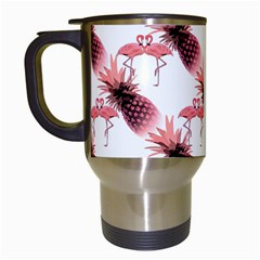 Flamingo Pineapple Tropical Pink Pattern Travel Mugs (white) by CrypticFragmentsColors