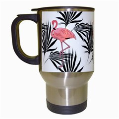 Pink Flamingos Palmetto Fronds Tropical Pattern Travel Mugs (white) by CrypticFragmentsColors