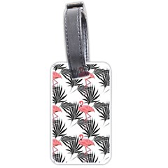 Pink Flamingos Palmetto Fronds Tropical Pattern Luggage Tags (two Sides) by CrypticFragmentsColors