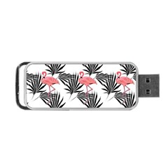 Pink Flamingos Palmetto Fronds Tropical Pattern Portable Usb Flash (one Side) by CrypticFragmentsColors