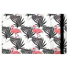 Pink Flamingos Palmetto Fronds Tropical Pattern Apple Ipad 2 Flip Case by CrypticFragmentsColors