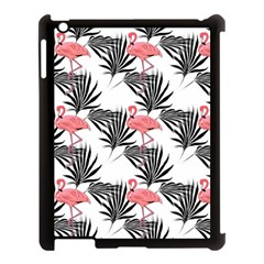 Pink Flamingos Palmetto Fronds Tropical Pattern Apple Ipad 3/4 Case (black) by CrypticFragmentsColors