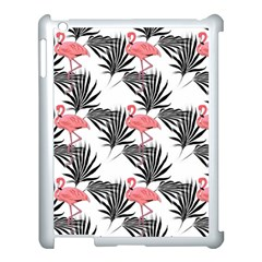Pink Flamingos Palmetto Fronds Tropical Pattern Apple Ipad 3/4 Case (white) by CrypticFragmentsColors