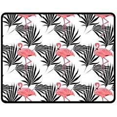 Pink Flamingos Palmetto Fronds Tropical Pattern Double Sided Fleece Blanket (medium)  by CrypticFragmentsColors
