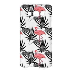 Pink Flamingos Palmetto Fronds Tropical Pattern Samsung Galaxy A5 Hardshell Case  by CrypticFragmentsColors