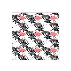 Pink Flamingos Palmetto Fronds Tropical Pattern Satin Bandana Scarf by CrypticFragmentsColors