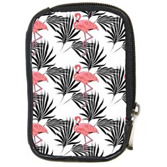 Pink Flamingos Palmetto Fronds Tropical Pattern Compact Camera Cases by CrypticFragmentsColors