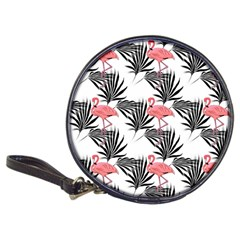 Pink Flamingos Palmetto Fronds Tropical Pattern Classic 20 Cd Wallets by CrypticFragmentsColors