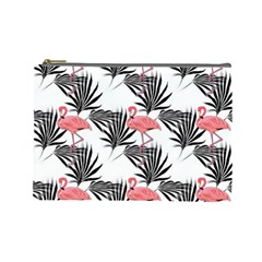 Pink Flamingos Palmetto Fronds Tropical Pattern Cosmetic Bag (large) by CrypticFragmentsColors