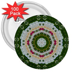 Fantasy Jasmine Paradise Love Mandala 3  Buttons (100 Pack)  by pepitasart