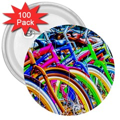 Colorful Bicycles In A Row 3  Buttons (100 Pack)  by FunnyCow