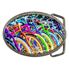 Colorful Bicycles In A Row Belt Buckles by FunnyCow