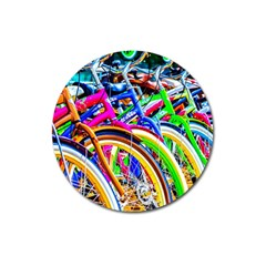 Colorful Bicycles In A Row Magnet 3  (round) by FunnyCow