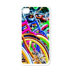 Colorful Bicycles In A Row Apple Iphone 4 Case (white) by FunnyCow