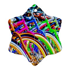 Colorful Bicycles In A Row Ornament (snowflake) by FunnyCow