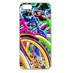 Colorful Bicycles In A Row Apple Seamless Iphone 5 Case (clear)