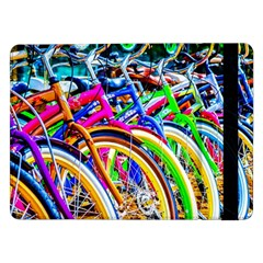 Colorful Bicycles In A Row Samsung Galaxy Tab Pro 12 2  Flip Case by FunnyCow